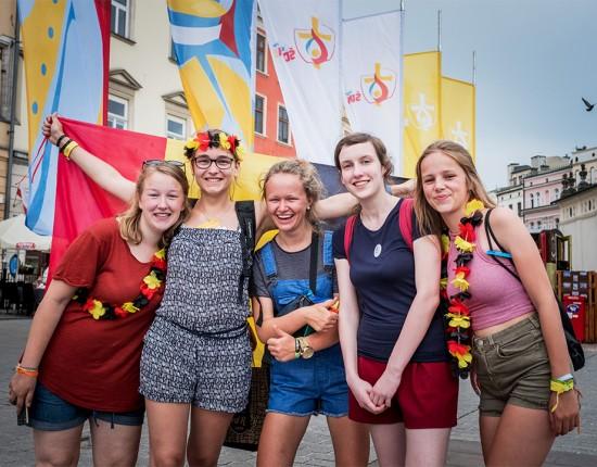 26 juillet 2016 : JMJ à Cracovie. Arrivée de jeunes allemands à Cracovie, Pologne.