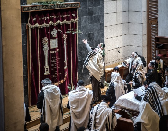 23 octobre 2016 : Après une nuit passée à prier et étudier des textes sacrés, les Loubavitchs se rassemblent pour le huitième jour de Souccot, le Chemini Atsérète. Lors d'une procession particulière, le Hoshanna Rabba, une branche de Saule est frappée cinq fois au sol puis jetée sur l'Arche Sainte dans laquelle sont rangés les rouleaux de Torah. Beth habad, centre communautaire, de la rue Petit à Paris (75), France.